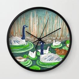 Water Friends drawing by Amanda Laurel Atkins Wall Clock