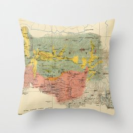 Vintage Geological Map of The Mount Everest Region (1921) Throw Pillow