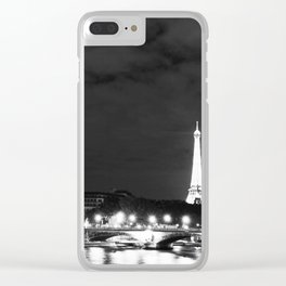 Black white Paris art, textured black sky, night, midnight in Paris, French Clear iPhone Case