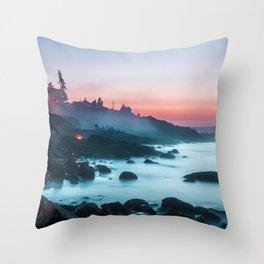 Light Sunrise Long Exposure Shoreline (Color) Throw Pillow
