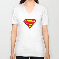 daenerys V-neck T-shirts featuring Superman Blood Logo by Veylow