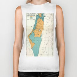 Map of Palestine Plan of Partition with Economic Union Biker Tank