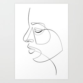 Minimalist Face Line Illustration No.3 Art Print
