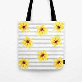 Yellow Daises on Minimal Black and White Stripes Tote Bag
