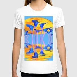 BLUE CALLA LILIES & MOON WATER GARDEN  REFLECTION T-shirt