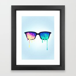 Psychedelic Nerd Glasses with Melting LSD/Trippy Color Triangles Framed Art Print