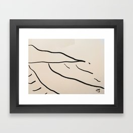 A Minimalist Charcoal Drawing of Playa Vasca, Sopelana Beach, in the Basque Country, Spain Framed Art Print