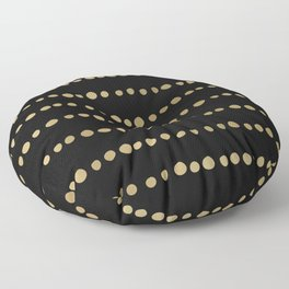 Boho Mudcloth Dots Pattern, Black and Gold Floor Pillow