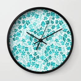 Turquoise Watercolor Floral Pattern Wall Clock