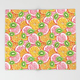 Summer pattern Orange grapefruit and kiwi fruit Throw Blanket