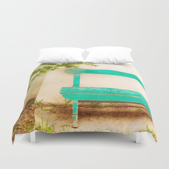 The Green Bench Duvet Cover