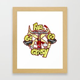 go fast go GRAZY ( vintage folding bicycle tribute - bull angry sketch handdrawn italian logo )  Framed Art Print