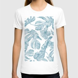 Gorgeous Blue Tropical Leaves + Flowers T-shirt
