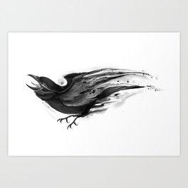 Splatter Crow Art Print
