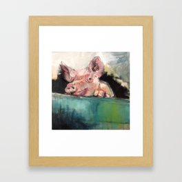 Peeping Piggy Framed Art Print