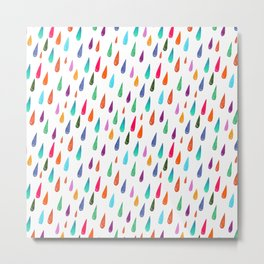 Modern rainbow colors watercolor rain drops pattern Metal Print