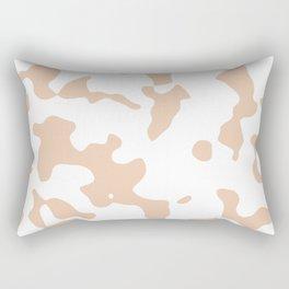 Large Spots - White and Desert Sand Orange Rectangular Pillow