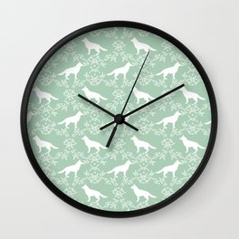 German Shepherd florals dog lovers dog silhouette floral pet pattern dogs Wall Clock