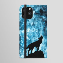Howling Winter Wolf snowy blue smoke iPhone Wallet Case