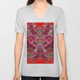 Red BURGUNDY ASIAN LILIES FLORAL MODERN ART Unisex V-Neck