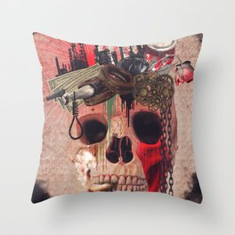 Capitalism Skull Throw Pillow