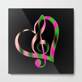 Music Heart Metal Print