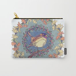 Small Bird With Wildflowers And Holly Wreath Carry-All Pouch
