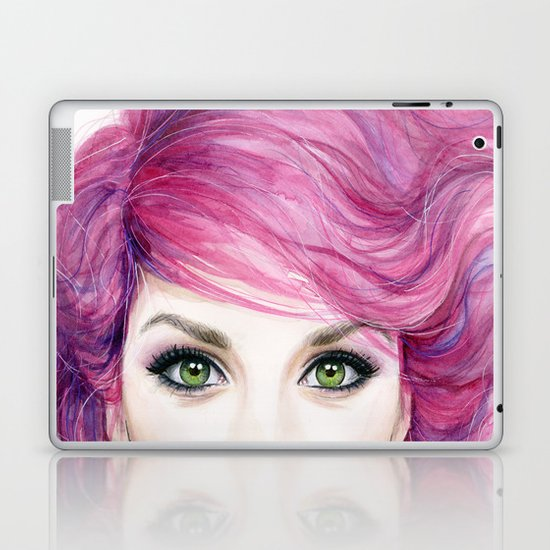 Pink Hair Girl Laptop & iPad Skin