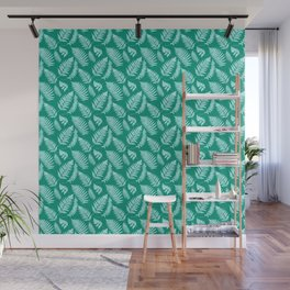 Woodland Fern Pattern, Turquoise and Aqua Wall Mural