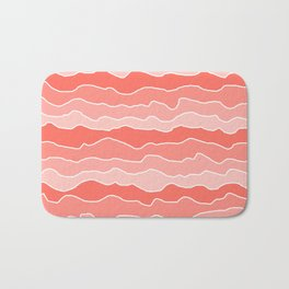 Four Shades of Living Coral with White Squiggly Lines Bath Mat