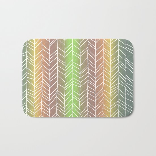 Colorful Rainbow Feather Pattern Bath Mat