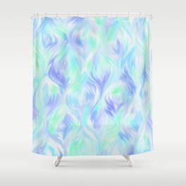 Preppy Blue Watercolor Abstract Ripples Shower Curtain