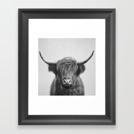 Highland Cow - Black & White Framed Art Print