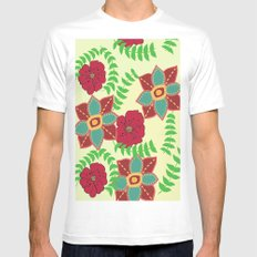 Floral White Mens Fitted Tee MEDIUM