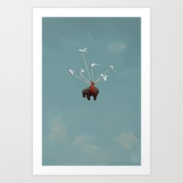 Baby Elephant Flies Art Print
