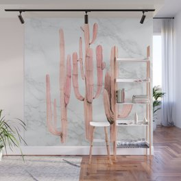 Coral Marble Cactus Watercolor Painting Wall Mural