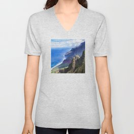 Hawaiian Coastal Cliffs: Aerial View From The Angels Unisex V-Neck