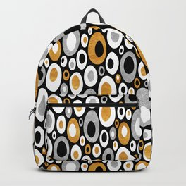 Mid Century Modern Ovals - Small Print in Black, White, Gold, Silver Backpack