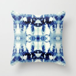 Tie Dye Blues Throw Pillow