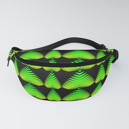 Alternating pattern of lime hearts and stripes on a black background. Fanny Pack