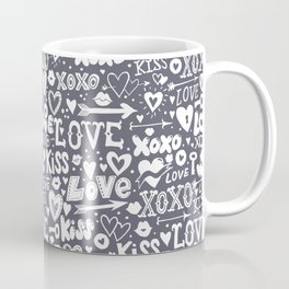 Love doodles in neutral grey and white Coffee Mug
