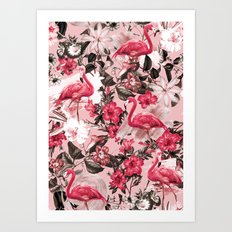 Floral and Flemingo III Pattern Art Print