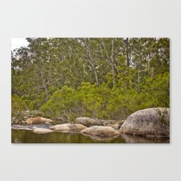 Peaceful river view with rocks Canvas Print