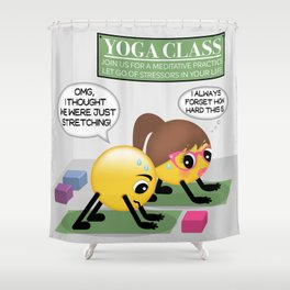 Yoga Emoji Couple Cartoon Shower Curtain