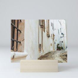 Little alley in the medieval white village of Ostuni Mini Art Print