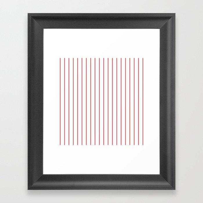 Classic Baseball Pattern Red Lines On White Gerahmter Kunstdruck