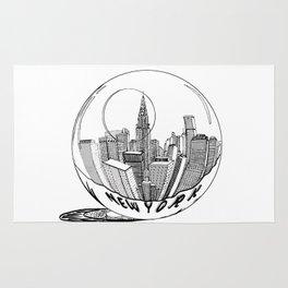 New York in a glass ball . Art . Rug