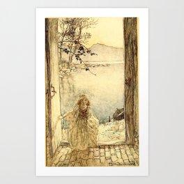 Arthur Rackham - Fouqué - Undine (1909) - A beautiful little girl clad in rich garments Art Print