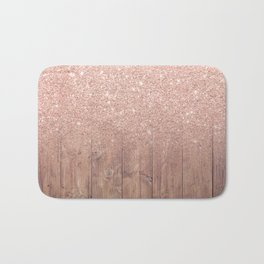 Modern faux rose gold glitter ombre brown rustic wood color block Bath Mat