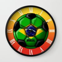 brasil Wall Clocks featuring Brasil Ball by kuuma
